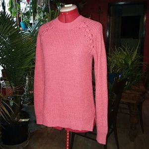Pink Sweater With Lace up detail